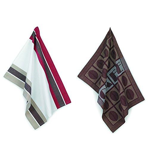 kela Coffee Set torchon de Cuisine Café 50x70cm 2 pièces en Coton, Brun/Blanc/Rouge, 50x70x1 cm