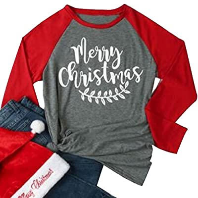 DUTUT Merry And Bright Christmas T-shirt Women Casual 3/4 Sleeve Leaf Print Round Neck Baseball Tee Tops