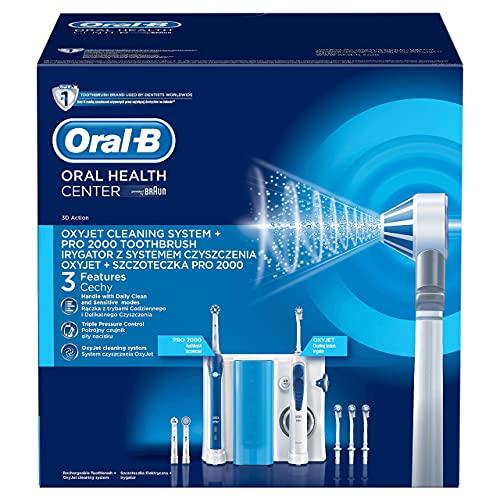 Oral-B Mundpflege-Center Pro2000 Elektrische Zahnbürste+Oxyjet Munddusche für effektive Plaque-Entfernung & gesünderes Zahnfleisch, 4Ersatzdüsen, 3Aufsteckbürsten, weiß/blau