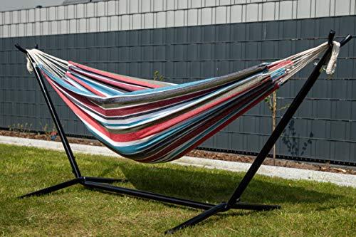 Björn&Schiller Hängematte mit Gestell für Outdoor & Indoor- Bunt/Grün-Rot, Liegeschaukel für Familien und Kinder 200 x 150 cm Doppel, Wetterfest, ideale Gartenliege für Terrasse und Camping