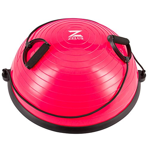 Z ZELUS Balance Ball Trainer Half Yoga Exercise Ball with Resistance Bands and Foot Pump for Yoga Fitness Home Gym Workout (Pink)