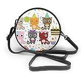Bolso de hombro redondo con cremallera para fiestas de cumpleaños, diseño de gatos, de piel suave, para mujer