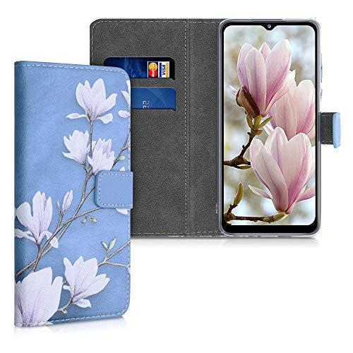 kwmobile Carcasa Compatible con Samsung Galaxy A12 - Funda de Cuero sintético con Magnolias - Case con Tarjetero