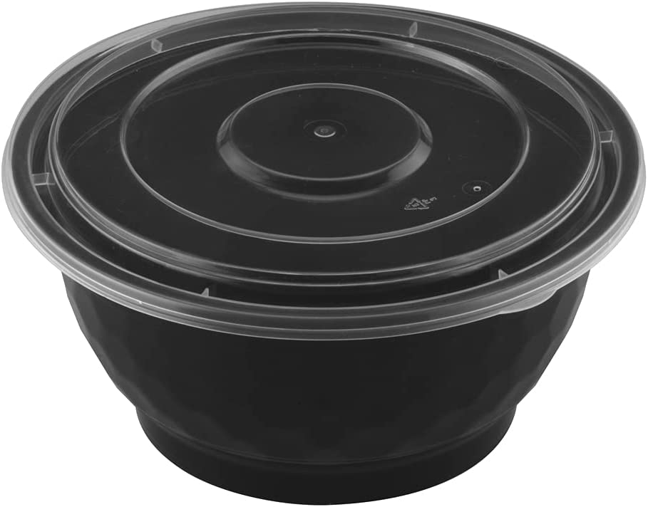 TIYA Food Takeout Bowls - Black Plastic Storage To-Go Containers - Reusable Microwavable Dishwasher Safe Restaurant Bowls - Leak Resistant for Soups & Meal Prep (42 oz Bulk 120 Pack with Clear Lids)