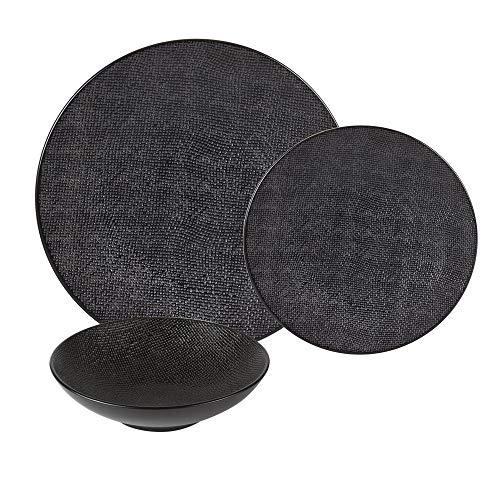 Table Passion - service d'assiettes vésuvio noir 18 pièces