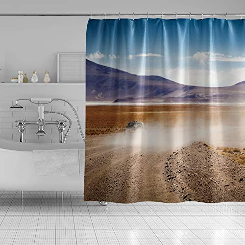 OERJU Outdoor Scenery Shower Curtain Blue Clear Sky Mountain Highland Wilderness Car Bathroom Decor Waterproof Polyester Natural Landscape Bath Curtain Set with Hooks 72x72inch Machine Washable