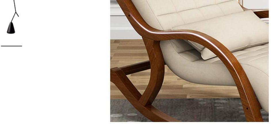 Chaise berçante Simple Chaise de Loisirs en Bois Massif Adulte Chaise berçante Loisirs Adulte Maison Chambre Salon inclinable roulement 200Kg Light Grey