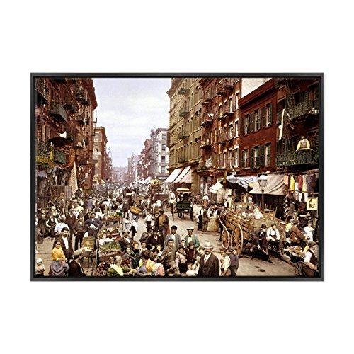 Bild auf Leinwand Canvas–Gerahmt–fertig zum Aufhängen–Fehlen Keyword und Beschreibung Mock-up Bereit Mulberry Street–New York–Little Italy Dimensione: 70x100cm B - Colore Nero Moderno