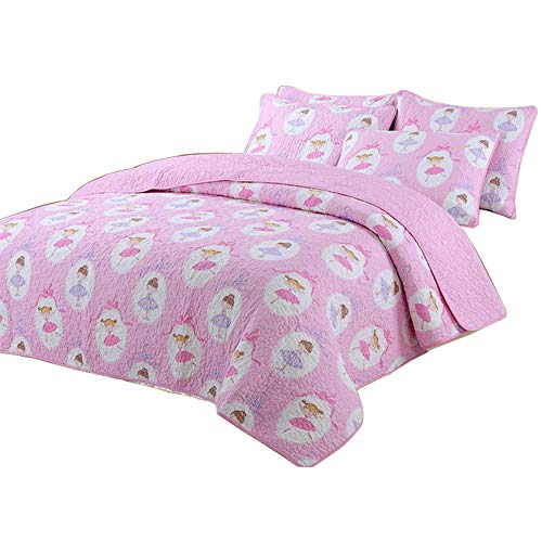 Lighting_time Best Comforter Set 2 Pieces Bedding Set Candy Pink Dot Striped Floral Bedspreads Quilts Set for Girls Kids Children Cotton Full Twin