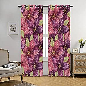 Blackout Curtains Abstract Art Pink and Purple Amaryllis Flowers Luxury Background Thermal Insulated Lined Window Coverings for Living Room Bedroom Silk Curtains Grommet 2 Panels (70×84 Inch)