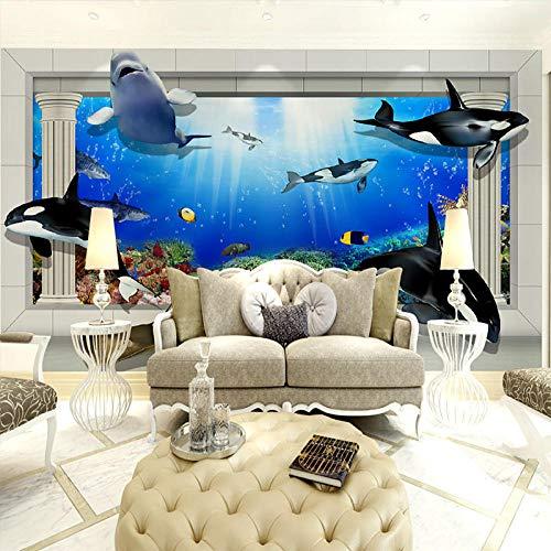 3D Tapeten Fototapete Marineblau Meer Mural Meerblick Wallpaper 3D Wanddekoration Tapeten Ozean Wandbilder 3D Raum Tapeten Landschaft,400 * 280Cm