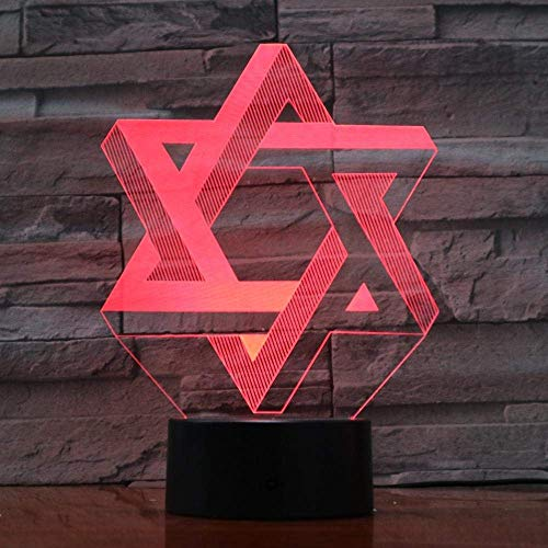 Luz De Ilusión 3D Luz De Noche Led Creativa 7 Colores Degradados Atmósfera Visual Israel Hexágono Geométrico Lámpara De Mesa Usb Cabecera Decoración Del Hogar
