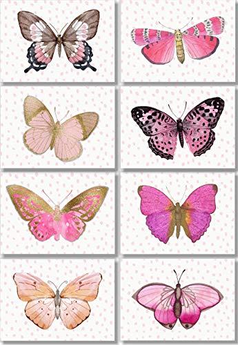 Butterfly Wall Art Prints - Watercolor Pink Butterflies Decor - (Set of 8) - 5x7 - Unframed