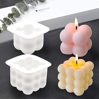 Moule Bougie Silicone Boule, minghaoyuan 2 PCS DIY Moule 3D Cube Boule Silicone pour la Fabrication de Bougies, Savon, Gât...