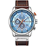 Mens Watches Military Chronograph Large Face Designer Dress Waterproof Sport Wrist Watch Business Analogue Brown Leather Watches for Men - Blue