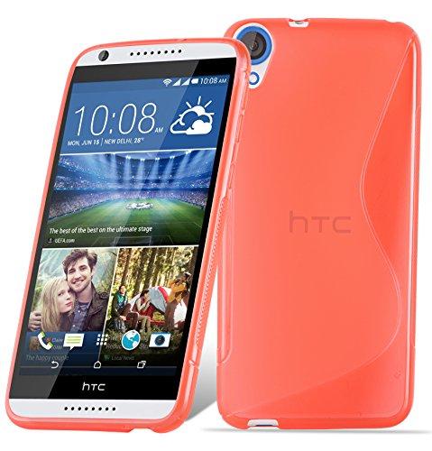 Cadorabo Hülle für HTC Desire 820 in Inferno ROT – Handyhülle aus flexiblem TPU Silikon – Silikonhülle Schutzhülle Ultra Slim Soft Back Cover Hülle Bumper