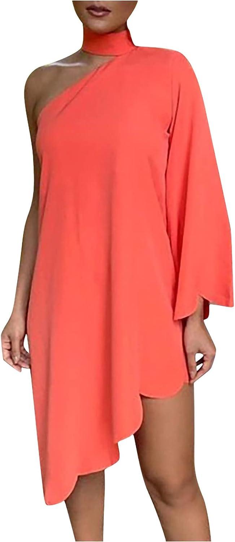 EZ Tuxedo Women's Off Shoulder Loose Dress Irregular Hem Kaftan Print Dress
