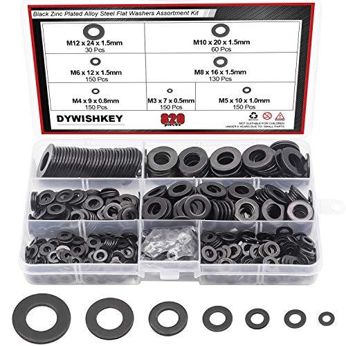 DYWISHKEY 820Pcs 7 Sizes Black Zinc Plated Steel Flat Washers Assortment Kit (M3 M4 M5 M6 M8 M10 M12)