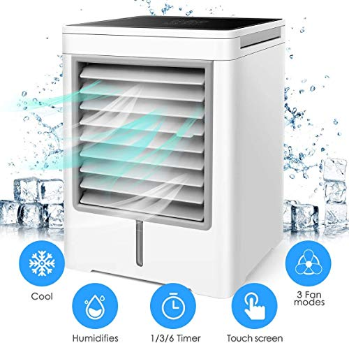 DAI QI Portable Space Air Conditioner, Personal Air Cooler - 3 in 1 Mini USB Air Conditioner, Purifier, Sterilizer, Humidifier, Desktop Cooling Fan with Adjustable 3 Speeds for Home Room Office
