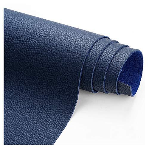 wangk Tela De Cuero Tejido de Piel ecológica Tela por Metros de Polipiel para tapizar, Manualidades, Cojines o forrar Objetos Lychee Pattern Thick 1.9mm-Azul 1.38x2m