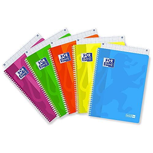 Favorit Quaderno Spiralato A4, Rigatura Quadretti 5mm, Carta 90G/Mq, Pacco da 5 Pezzi, Colori Fluo Assortiti