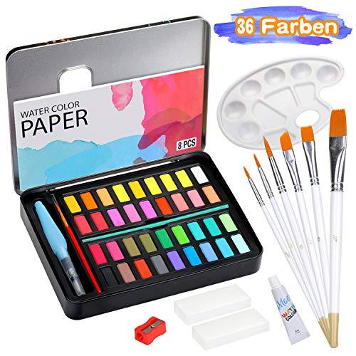 KATELUO Set de Pinturas de Acuarela,36 Color Kit de Pintura de Acuarela,1 Pinceles de Agua,7 Juego de Pinceles,8 Papeles de Acuarela,1 Paleta de Pintura,para Aficionados,Artistas Principiantes.