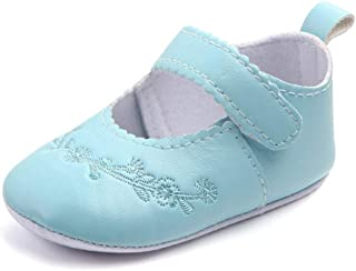 XYAN Girl Baby Shoes PU Soft sole Anti-skid Magic Tape Breathable Embroidery Flower Golden Dance Shoes (Color : Light blue...