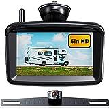 Wireless Backup Camera 5' Monitor, 1080P HD License Plate Camera w/ Stable Signal for Rear View Car/Pickup/Semi Box Truck/Sedan/Rv/Van/Camper, No Water-in, S04