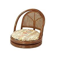 サンフラワーラタン コンパクト回転式座椅子 クリーム ロータイプ 座面高14cm 花柄クッション C400HRJ