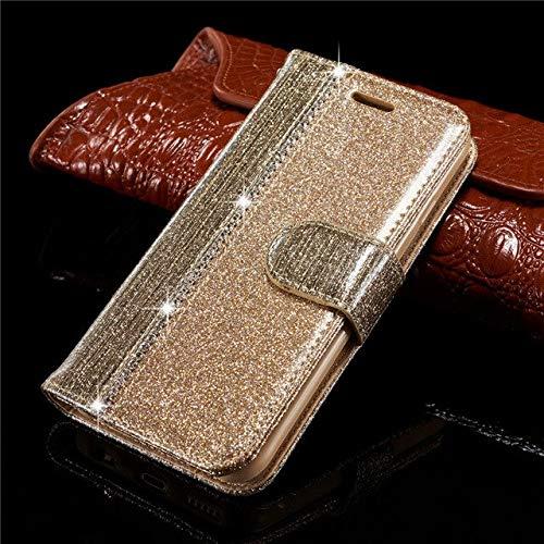 GHKSDLJFGDF Glitter Wallet Funda de Cuero para iPhone 7 6s Plus Funda magnética para iPhone 8 Plus Apple Phone Bag para iPhone 8 Plus Gold