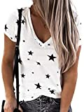 Colisha Camiseta de manga corta con cuello en V y estampado de estrellas para mujer