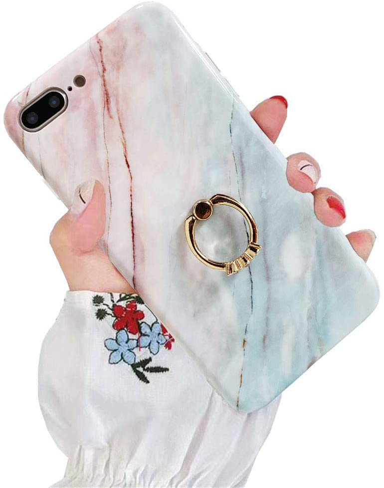 J.west Case for iPhone 7 Plus/iPhone 8 Plus, Shockproof Slim Girl Women Ring Stand Holder Marble Silicone Impact Resistant Phone Cover Soft TPU Cover Case for iPhone 7 Plus/iPhone 8 Plus 5.5 Coral