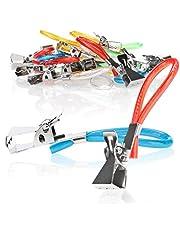 com-four® Handdoekhouder-clips van kunststof en verchroomd metaal, kleurrijke klemmen als handdoekhaak clip-ophanger voor het ophangen van handdoeken, pannenlappen, theedoeken
