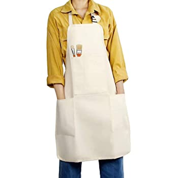 FreeNFond Adjustable Professional Bib Apron with 4 Pockets Painting Apron Cotton Canvas Cooking Kitchen Apron for Women Men Adults