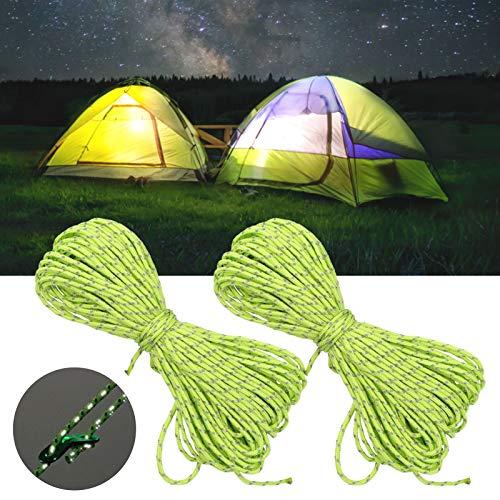 Faceuer Cordón de paracaídas de 65,6 pies con Reflejo Verde Fluorescente más, Cuerda de Polipropileno para Tienda, para Acampar y Caminar