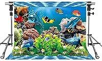 HD水中背景色の魚の写真の背景7x5ftをテーマにしたパーティーの写真ブースYouTubeの背景XCMT409