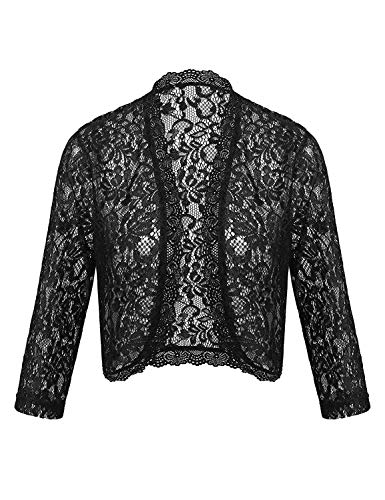 Dealwell Lace Shrugs for Dresses Women's Evening Long Sleeve Formal Boleros Cardigans (Black, XL)