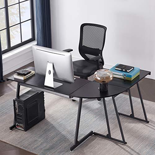 Symylife Escritorio en Forma de L, Escritorio de Esquina para computadora de Juegos, Mesa de Estudio para PC, estación de Trabajo para Oficina en casa, 147 cm (L) * 112 cm (W) * 74 cm (H) Negro