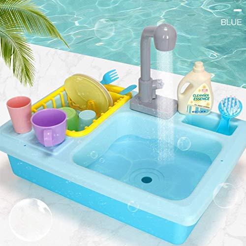 Tuoservo Juguete para fregadero de cocina con agua corriente (sistema automático de ciclo de agua), juego de entrenamiento de coordinación mano-ojo, azul, 40,5 x 27,5 cm