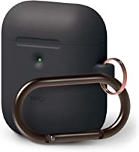 elago AirPods 2 Hang Case [Front LED Visible] Protective Silicone Cover, Supports Wireless Charging, Added Carabiner, Latest 2019 Model - for AirPods 2 Wireless Charging Case (Black)
