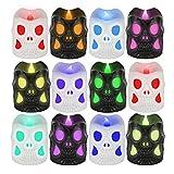 HOSPAOP - Velas LED con forma de cráneo, 12 ledes, color blanco cálido, sin llama, velas de té LED para Halloween, fiestas, bares, bodas