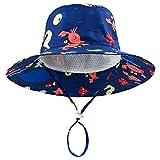 DRESHOW - Cappello parasole per bambini, con protezione solare UPF 50+, unisex, con animali, cappello da pescatore per l'estate con sottogola Mare blu scuro. 6-12 Mesi