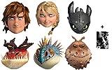 How To Train Your Dragon 2 - Karte Partei Gesichtsmasken (Maske) Packung von 6 (Hiccup, Toothless, Astrid, Nadder, Gronckle und Monstrous Nightmare) Enthält 6X4 (15X10Cm) starfoto