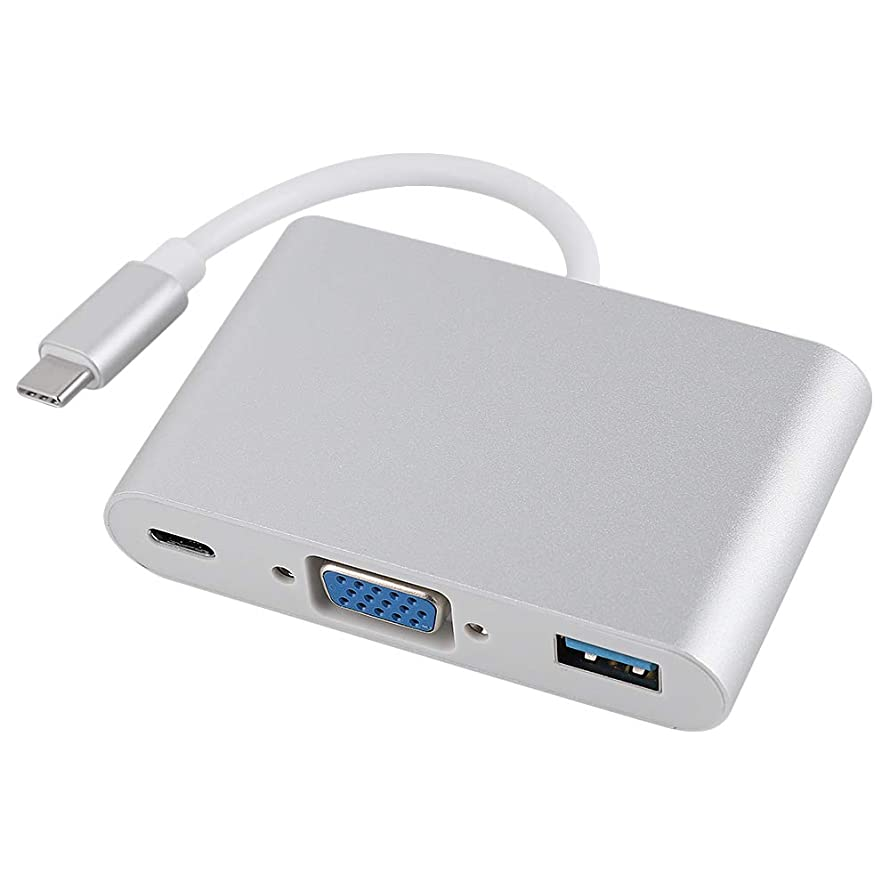 USB-C to VGA Adapter 3-in-1 Type C to VGA USB 3.0+USB-C Data Sync Hub Multiport USB3.0 Hub Type-C Female with Charging&Video Converter