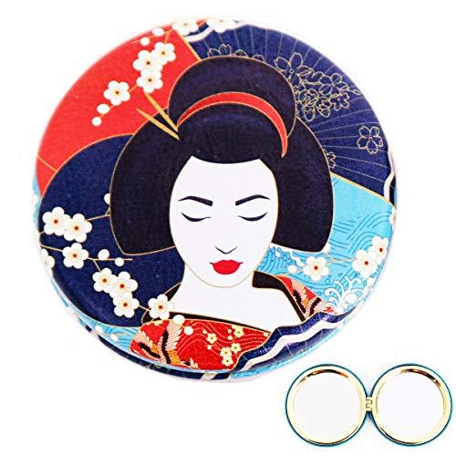 Les Trésors De Lily [R0842] - Miroir Créateur 'Geisha' rouge bleu - 7x2 cm