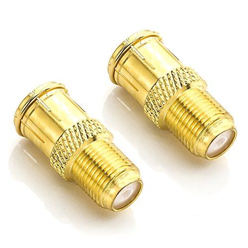 deleyCON F-Quick Stecker Schnellverbinder F-Buchse auf F-Stecker F-Quick Stecker auf F-Kupplung ohne Schrauben Vergoldet - 2 Stück
