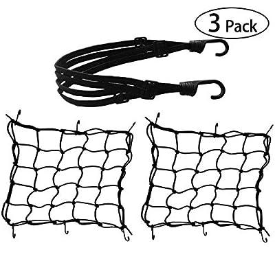 3 Pack Motorcycle Net - 2 Pack Heavy Duty 15.7 inch / 40cm Elastic Luggage Cargo Net+ 23.6 inch / 60cm Helmet Net for Motorcycle and Bike from HOAOH