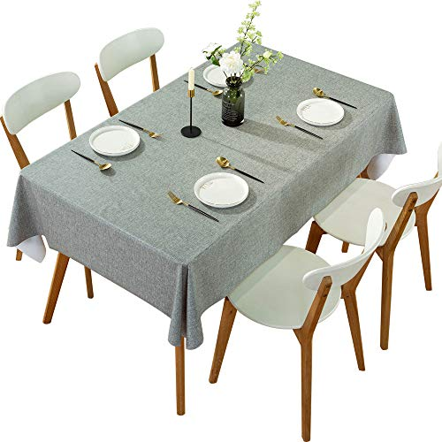 DARUITE Mantel Antimanchas, Look Lino Grueso Gris Mantel PVC Plastico Mesa Rectangular Impermeable 137 x 185 cm de Comedor, Exterior, Cocina, Picnic