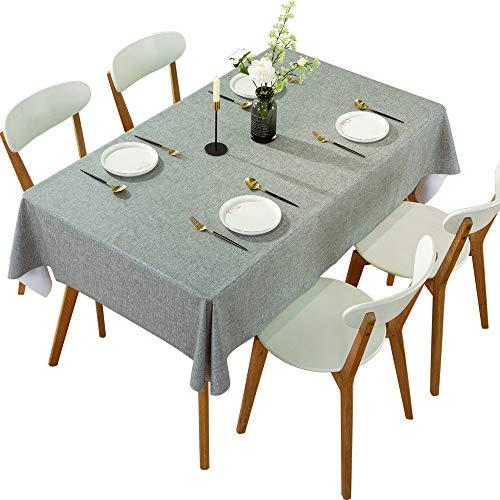 DARUITE Mantel Antimanchas, Look Lino Grueso Gris Mantel PVC Plastico Mesa Rectangular Impermeable 137 x 200 cm de Comedor, Exterior, Cocina, Picnic