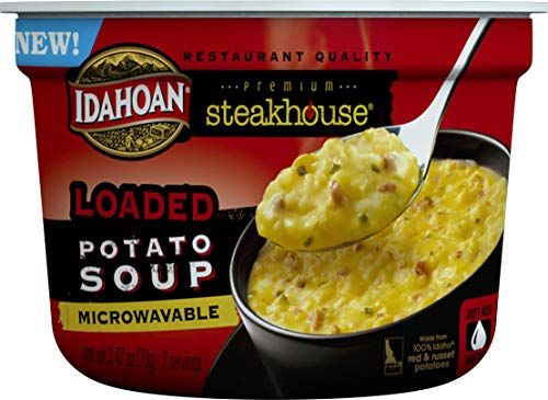 Idahoan Steakhouse Loaded Potato Soup, Made with Gluten-Free 100-Percent Real Idaho Potatoes, 2.4 oz Bowl (Pack of 6) (Best Potatoes Au Gratin Ina Garten)